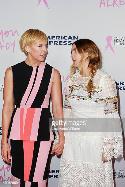 Toni Collette and Drew Barrymore arrive at the 'Miss You Already' Gala premiere at the State Theatre on September 30, 2015 in Sydney, Australia.