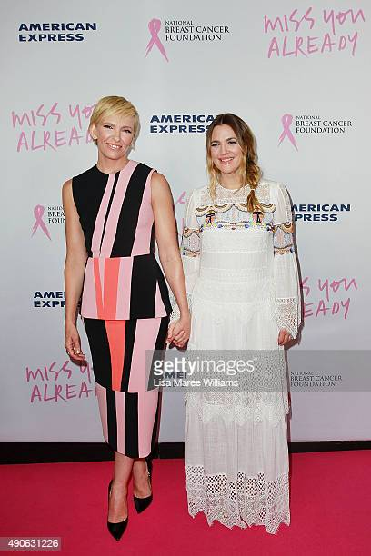Toni Collette and Drew Barrymore arrives at the 'Miss You Already' Gala premiere at the State Theatre on September 30 2015 in Sydney Australia