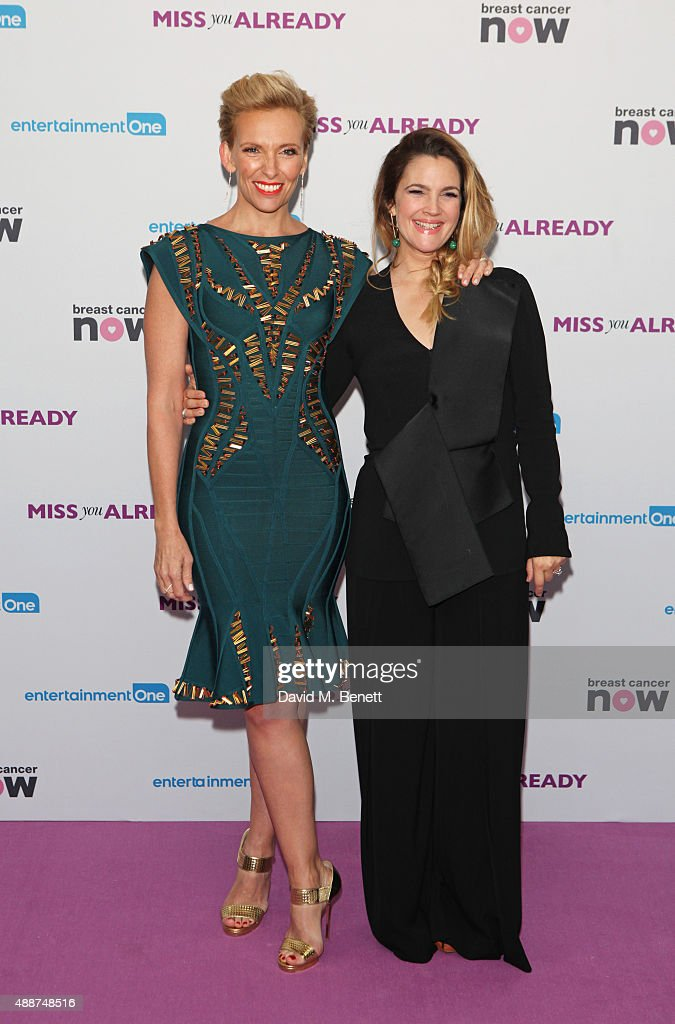 Toni Collette (L) and Drew Barrymore attend the European Premiere of 'Miss You Already' at Vue West End on September 17, 2015 in London, England.