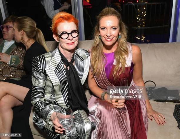 Toni Collette and guest attend the 2019 Vanity Fair Oscar Party hosted by Radhika Jones at Wallis Annenberg Center for the Performing Arts on...