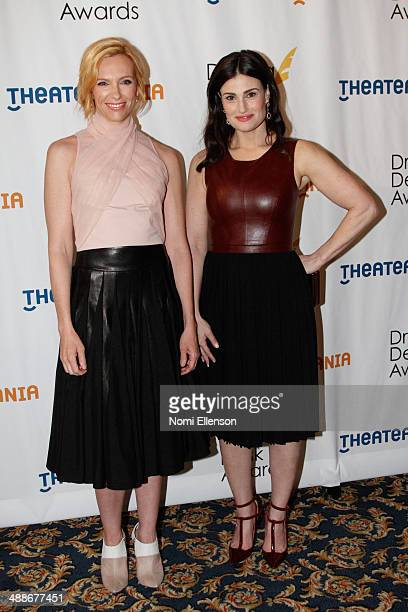 Toni Collette and Idina Menzel attend the 2014 Drama Desk Awards Nominees Reception at Essex House on May 7 2014 in New York City
