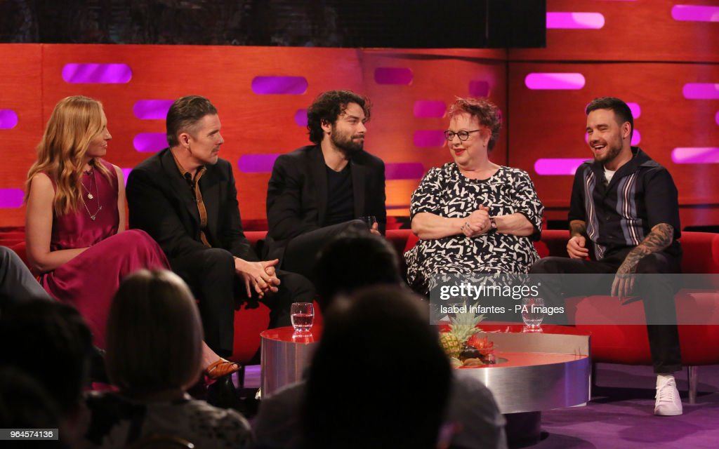 Toni Collette, Ethan Hawke, Aidan Turner, Jo Brand and Liam Payne during the filming of the Graham Norton Show at BBC Studioworks 6 Television Centre, Wood Lane, London, to be aired on BBC One on Friday evening.