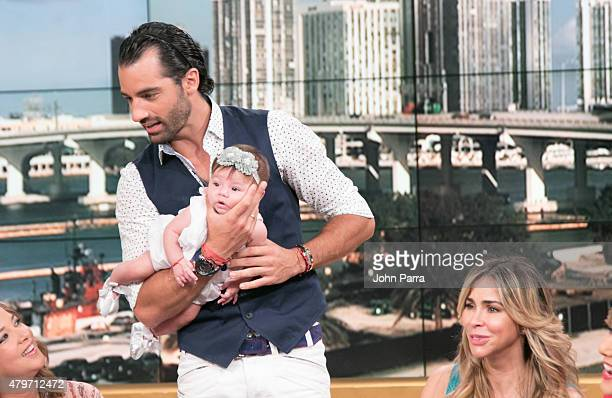 Toni Costa Adamari Lopez Alaia Costa Daniel Sacros Ana Maria Canseco Diego Schoening and Aylin Mujica pose during her return to the set of Un Nuevo...
