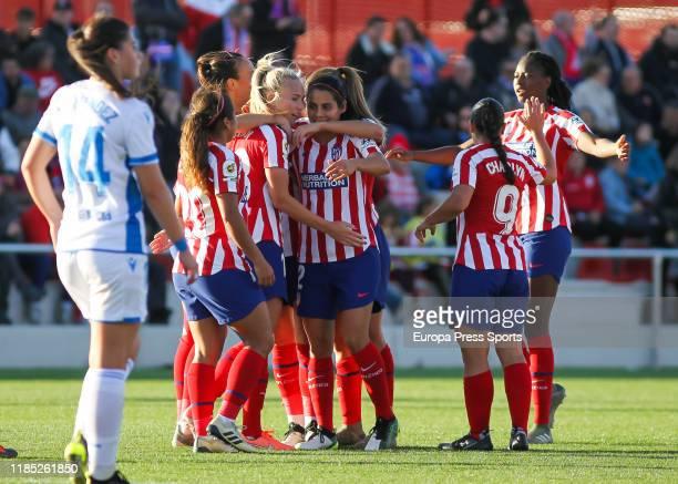 Toni Duggan and Laia Aleixandri López, players of Atletico de Madrid, celebrating a goal during the Spanish women's league, Liga Iberdrola, football...