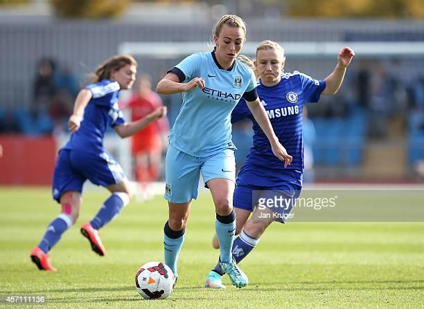Toni Duggan Manchester City Women controls the ball from Laura Bassett of Chelsea Ladies during the WSL match between Manchester City Women and...