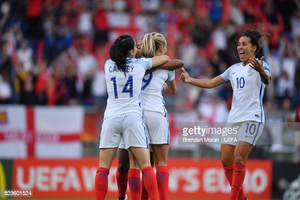Toni Duggan of England celebrates first goal with teammates during the UEFA Women's EURO 2017 Group D match between Portugal and England at Koning...