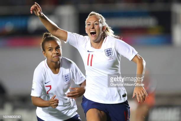 Toni Duggan of England celebrates scoring their 1st goal during the FIFA Women's World Cup Qualifier at Rodney Parade Stadium on August 31 2018 in...