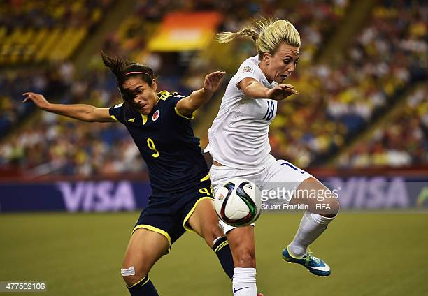 Toni Duggan of England is challenged by Orianica Velasquez of Colombia during the FIFA Womens's World Cup Group F match between England and Colombia...