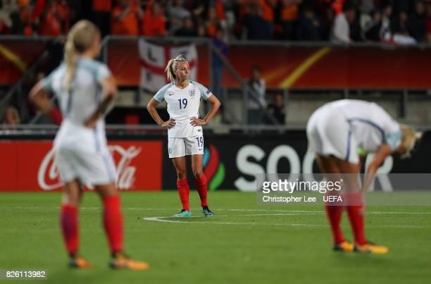 Toni Duggan of England looks dejected following the UEFA Women's Euro 2017 Semi Final match between Netherlands and England at De Grolsch Veste...