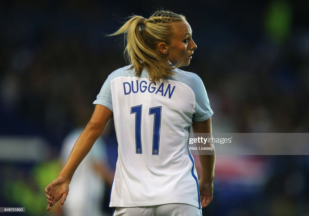 Toni Duggan of England looks on during the FIFA Women's World Cup Qualifier between England and Russia at Prenton Park on September 19, 2017 in Birkenhead, England.