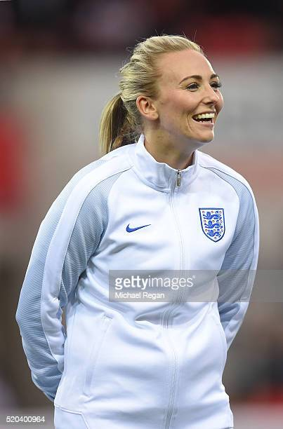 Toni Duggan of England looks on during the UEFA Women's European Qualifer between England and Belgium at The New York Stadium on April 8 2016 in...