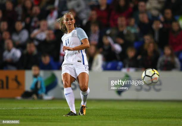 Toni Duggan of England scores their sixth goal during the FIFA Women's World Cup Qualifier between England and Russia at Prenton Park on September 19...