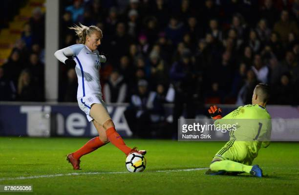 Toni Duggan of England shoots at goal during the FIFA Women's World Cup Qualifier between England and Bosnia at Banks' Stadium on November 24 2017 in...