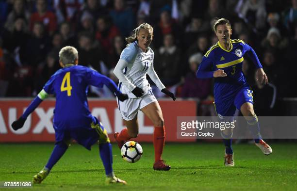 Toni Duggan of England takes on Amira Spahic and Antonela Radeljic of Bosnia and Herzegovina during the FIFA Women's World Cup Qualifier between...