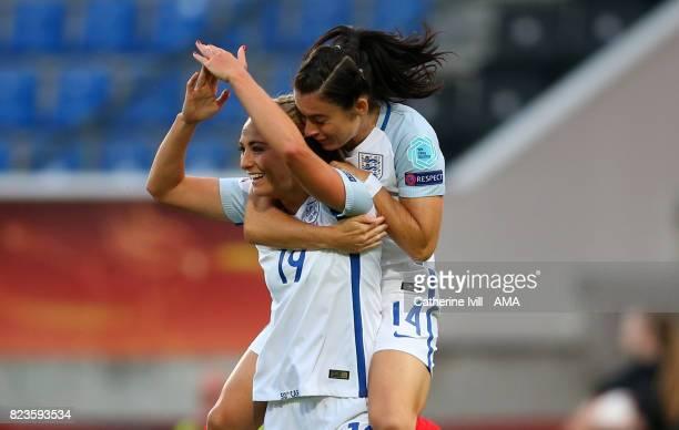 Toni Duggan of England Women celebrates after scoring a goal to make it 10 with Karen Carney of England Women during the UEFA Women's Euro 2017 match...