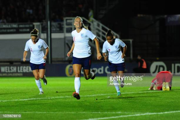 Toni Duggan of England Women celebrates scoring the opening goal during the FIFA Women's World Cup Qualifier match between Wales and England at...