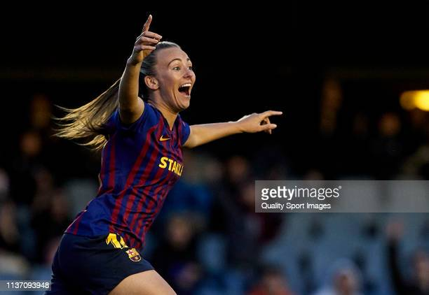 Toni Duggan of FC Barcelona celebrates their team's oppening goal during the UEFA Women's Champions League: Quarter Final First Leg match between...