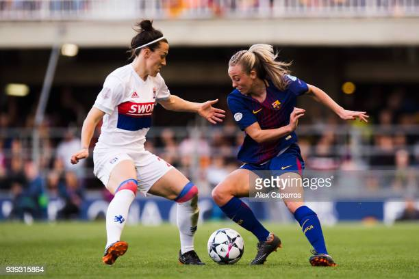 Toni Duggan of FC Barcelona competes for the ball with Lucy Bronze of Olympique Lyon during the UEFA Women's Champions League Quarter Final 2nd Leg...
