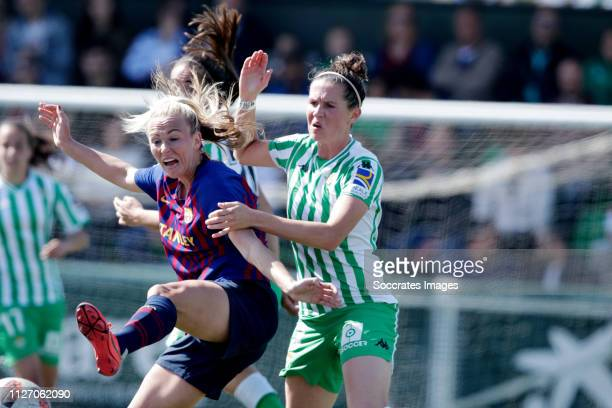 Toni Duggan of FC Barcelona Women Merel van Dongen of Real Betis Sevilla during the Iberdrola Women's First Division match between Real Betis Sevilla...