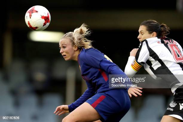 Toni Duggan of FC Barcelona Women Sonia Prim of Levante UD Women during the Iberdrola Women's First Division match between FC Barcelona v Levante at...