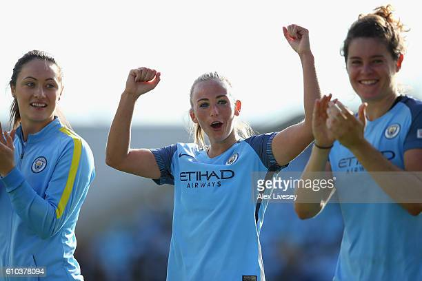 Toni Duggan of Manchester City Women celebrates after the FA Women's Super League match between Manchester City Women and Chelsea Ladies FC at City...