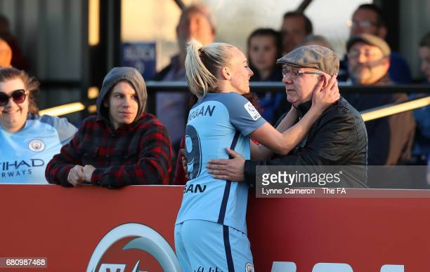 Toni Duggan of Manchester City Women celebrates with her Grandfather during the WSL 1 match between Bristol City Women and Manchester City Ladies at...