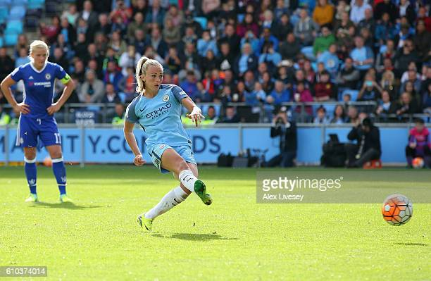 Toni Duggan of Manchester City Women scores their second goal from a penalty during the WSL 1 match between Manchester City Women and Chelsea Ladies...
