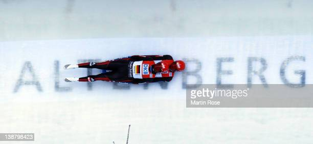 Toni Eggert and Sascha Benecken of Germany compete during mixed team relay run in the Luge World Championship on February 12 2012 in Altenberg Germany
