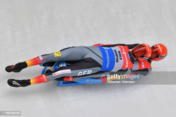 Toni Eggert and Sascha Benecken of Germany compete in the Doubles event during the FIL Luge World Cup at OlympiaRodelbahn on November 23 2019 in...
