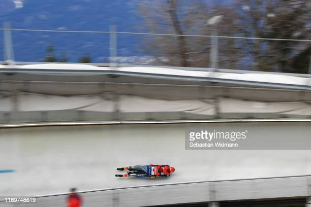 Toni Eggert and Sascha Benecken of Germany compete in the Relay competition during the FIL Luge World Cup at OlympiaRodelbahn on November 24 2019 in...
