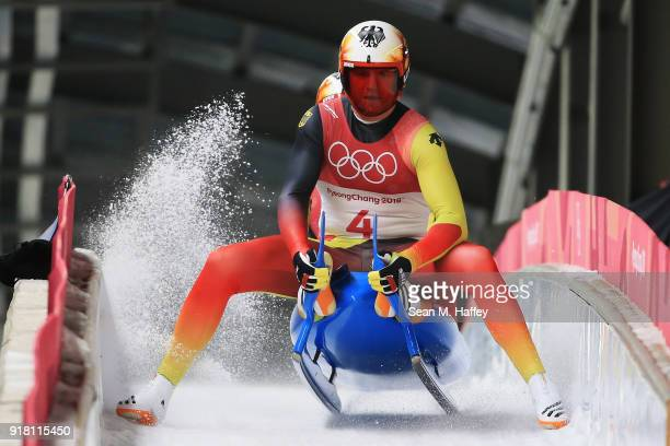 Toni Eggert and Sascha Benecken of Germany finish their run during the Luge Doubles on day five of the PyeongChang 2018 Winter Olympics at the...