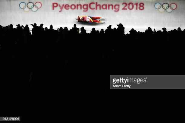 Toni Eggert and Sascha Benecken of Germany make a run during the Luge Doubles on day five of the PyeongChang 2018 Winter Olympics at the Olympic...