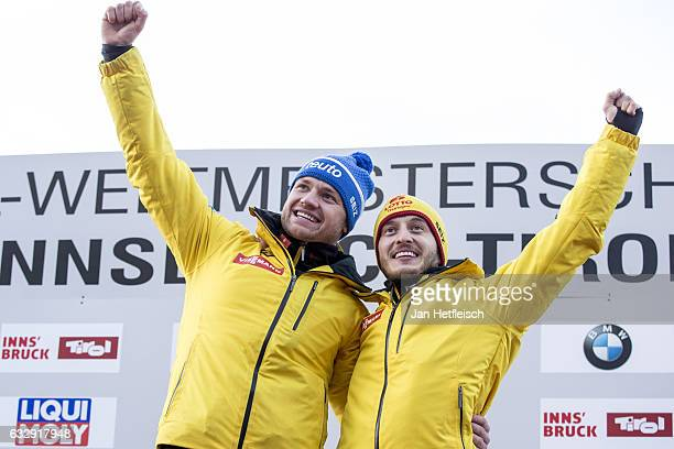 Toni Eggert and Sascha Benecken of Germany pose for a picture at the victory ceremony of the Men's Double competition during the second day of the...