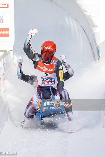 Toni Eggert and Sascha Benecken of Germany react after their second run of the Men's Double Luge competition during the second day of the FILWorld...