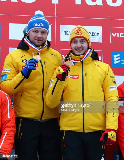 Toni Eggert left and Sascha Benecken of Germany celebrate after winning the Doubles competition of the Viessmann FIL Luge World Cup at Lake Placid...