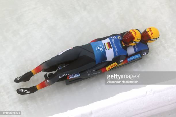 Toni Eggert of Germany competes with Sascha Benecken in the Team relay during the FIL Luge World Cup at Olympia-Rodelbahn on November 29, 2020 in...
