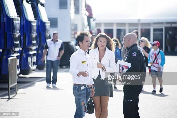 Toni Elias of Spain and Forward Racing speaks in paddock during the MotoGP of Spain Previews at Motorland Aragon Circuit on September 24 2015 in...