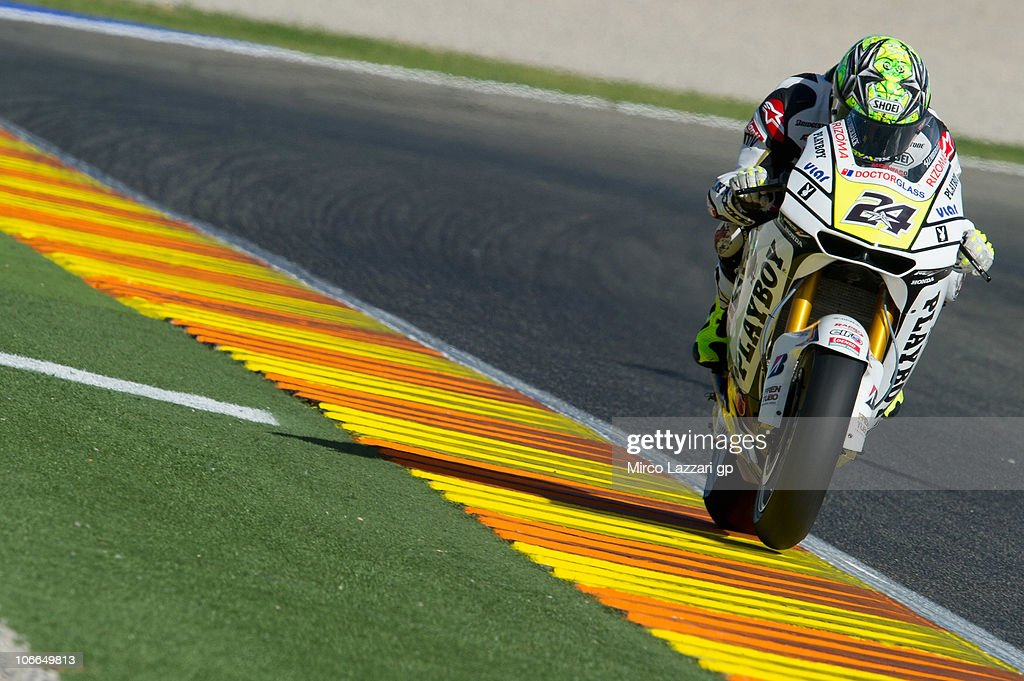 Toni Elias of Spain and LCR Honda MotoGP heads down a straight during the first test of the 2011 season at Ricardo Tormo Circuit on November 9, 2010 in Valencia, Spain.