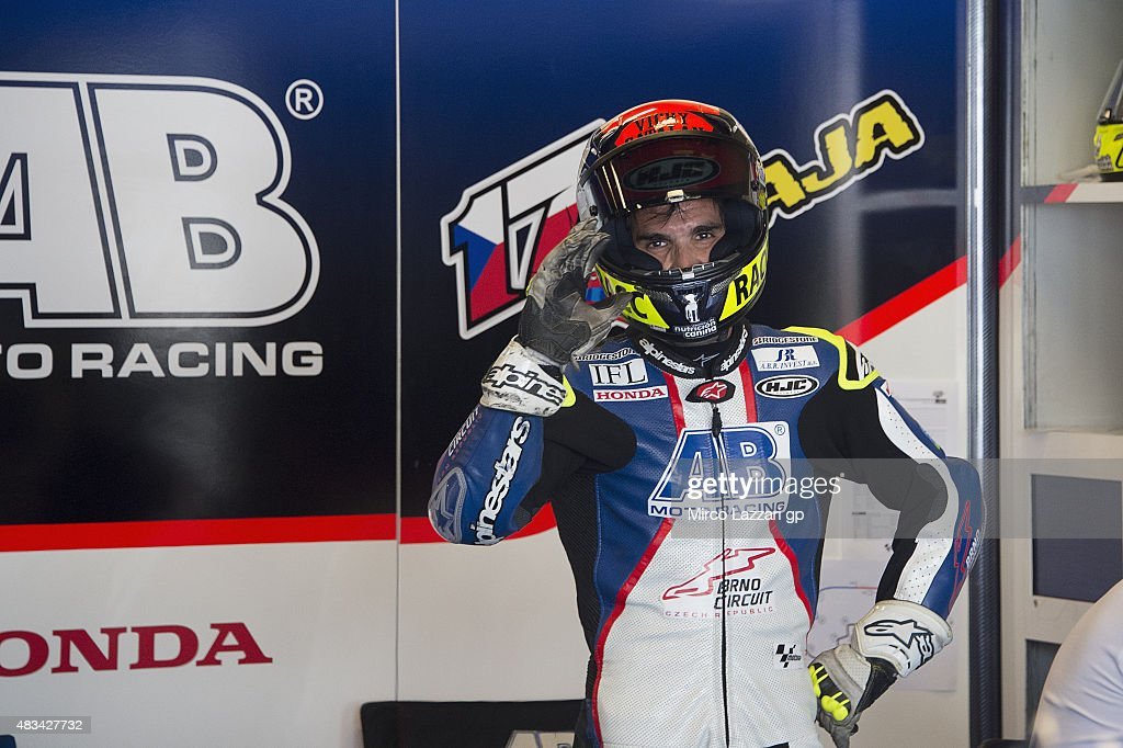 Toni Elias of Spain (rides in place of Karel Abraham of Czech Rep. and AB Motoracing) greets in box during the MotoGp Red Bull U.S. Indianapolis Grand Prix - Qualifying at Indianapolis Motor Speedway on August 8, 2015 in Indianapolis, Indiana.