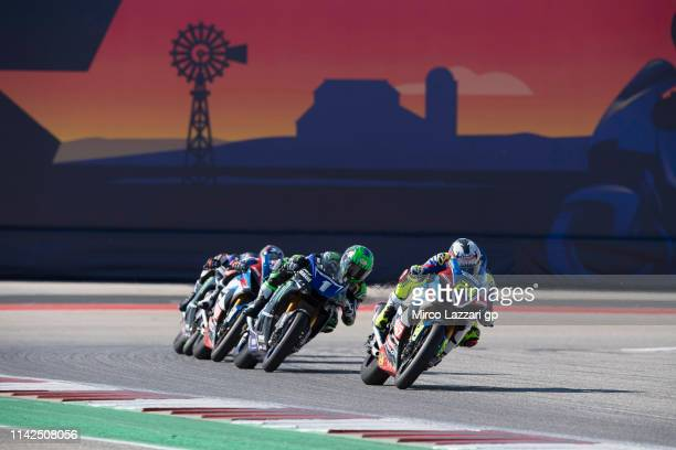 Toni Elias of Spain leads the field during the MotoAmerica Superbike race 1 during the MotoGp Red Bull US Grand Prix of The Americas Qualifying at...