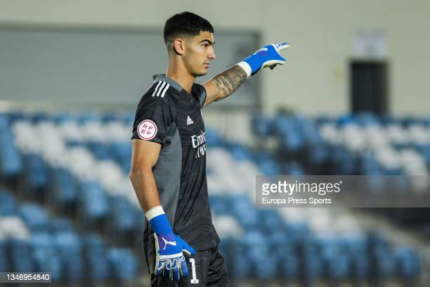 Toni Fuidias of Real Madrid Castilla gestures during Primera RFEF Group 2 football match played between Real Madrid Castilla and FC Barcelona B at...