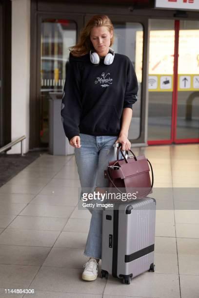 Toni Garn is seen arriving at Berlin Tegel airport on April 23, 2019 in Berlin, Germany.