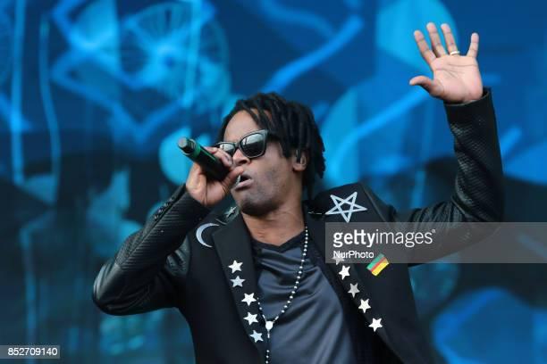 Toni Garrido from Cidade Negra performs at 2015 Rock in Rio on September 27 2015 in Rio de Janeiro Brazil