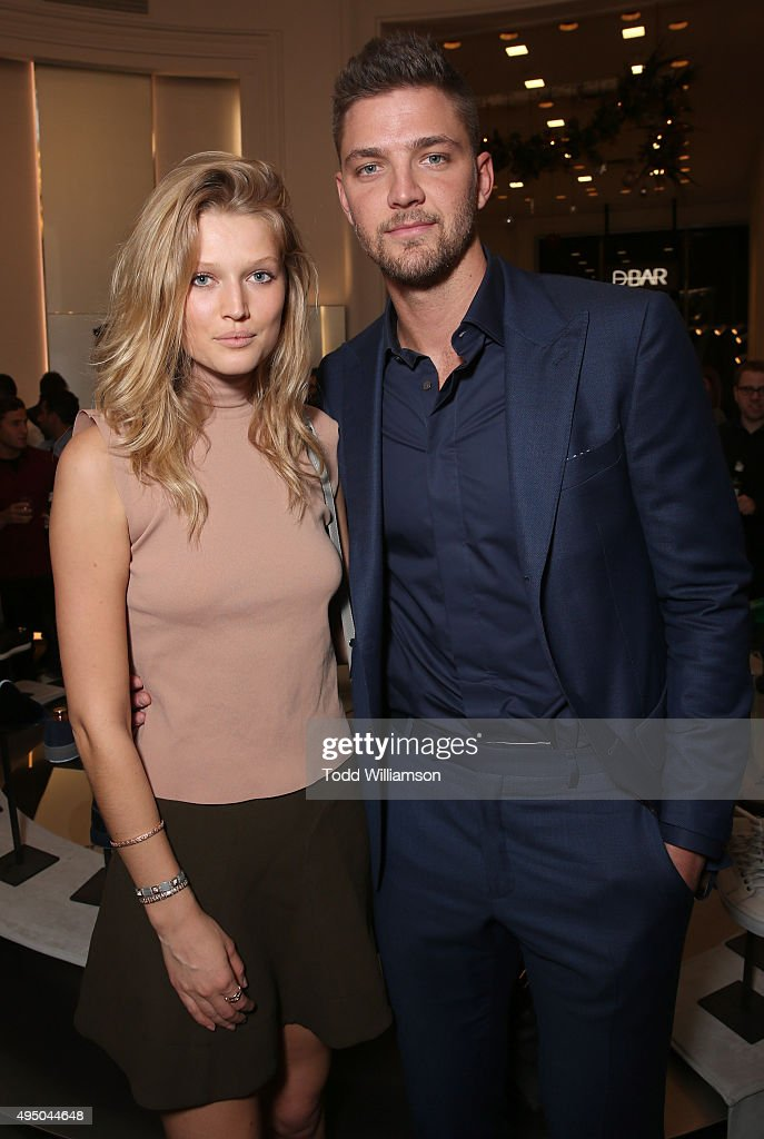 Toni Garrn and Chandler Parsons attend a Del Toro Chandler Parsons Event at Saks Fifth Avenue Beverly Hills on October 30, 2015 in Beverly Hills, California.