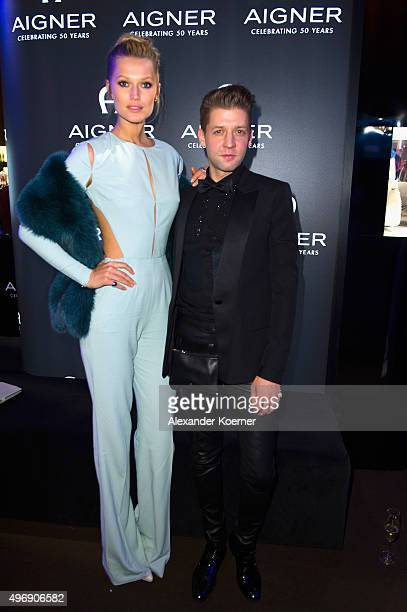 Toni Garrn and chief designer Christian Beck attend the Bambi Awards 2015 party at Atrium Tower on November 12, 2015 in Berlin, Germany.