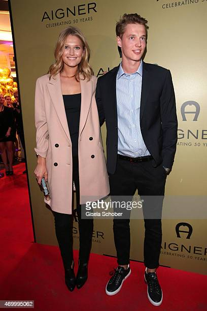 Toni Garrn and her brother Niklas during the 50th Anniversary of AIGNER on April 16 2015 in Munich Germany