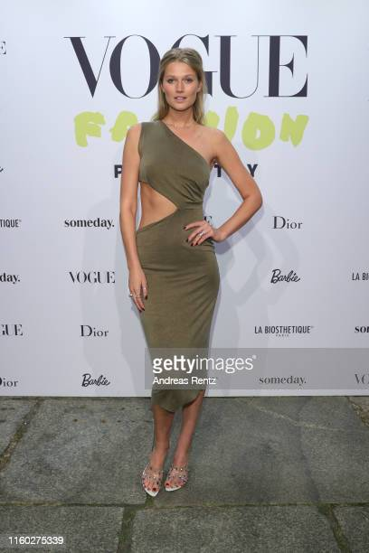 Toni Garrn at the Vogue party on July 05, 2019 in Berlin, Germany.