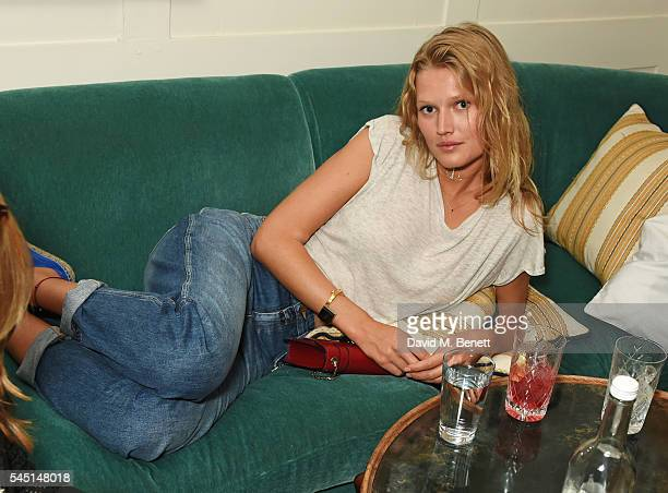 Toni Garrn attends a private dinner hosted by Dylan Jones and JeanDavid Malat to celebrate artist Mike Dargas at Soho House on July 5 2016 in London...