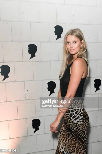 Toni Garrn attends the 120th anniversary celebration of Schwarzkopf at U3 subway tunnel Potsdamer Platz on February 8 2018 in Berlin Germany