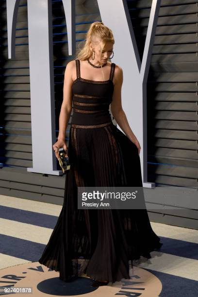 Toni Garrn attends the 2018 Vanity Fair Oscar Party Hosted By Radhika Jones Arrivals at Wallis Annenberg Center for the Performing Arts on March 4...